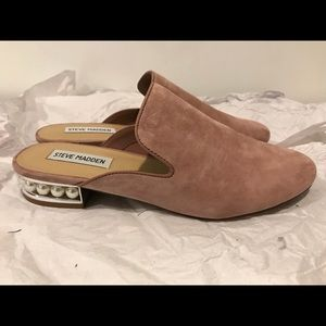 Steve Madden pink suede mules with pearls